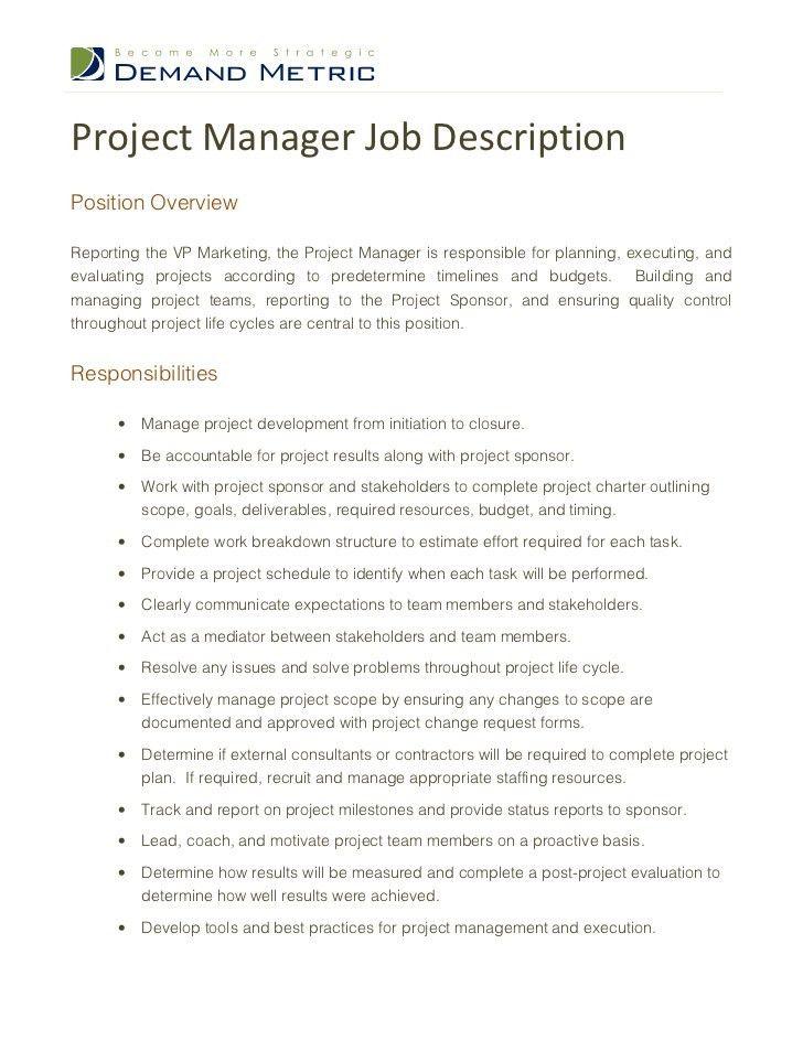 12 Project Manager Job Description | RecentResumes.com