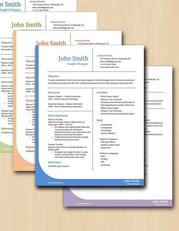 Professional Grid Resume Template - SIX COLORS - Modern Resume ...