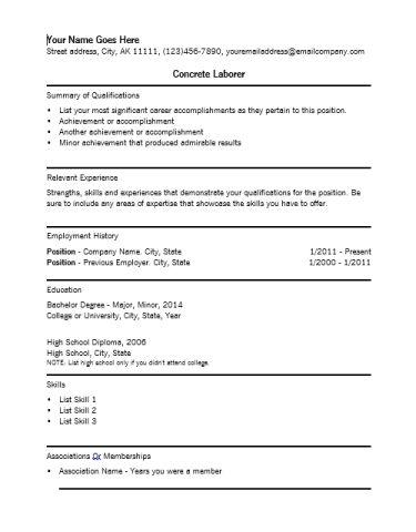 sample general laborer resume