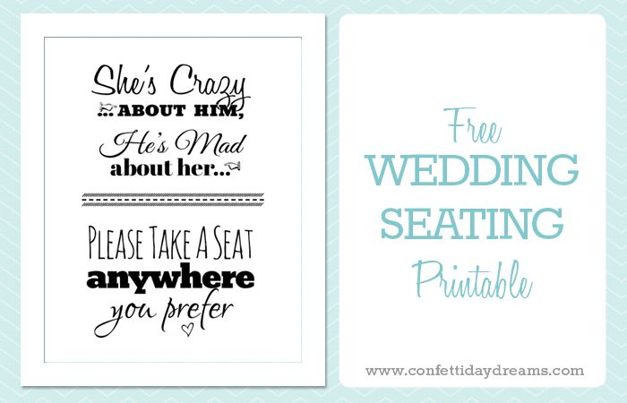 Pick A Seat wedding Sign Free Printable