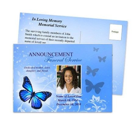 Funeral Announcements : Butterfly Funeral Announcement Postcard ...
