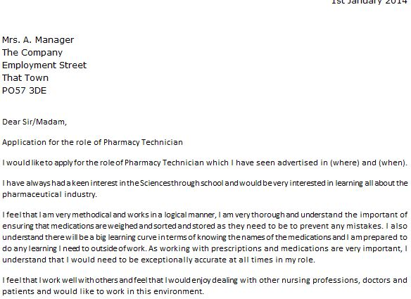 Cover Letter For Pharmacy Technician Cover Letter For Pharmacy ...