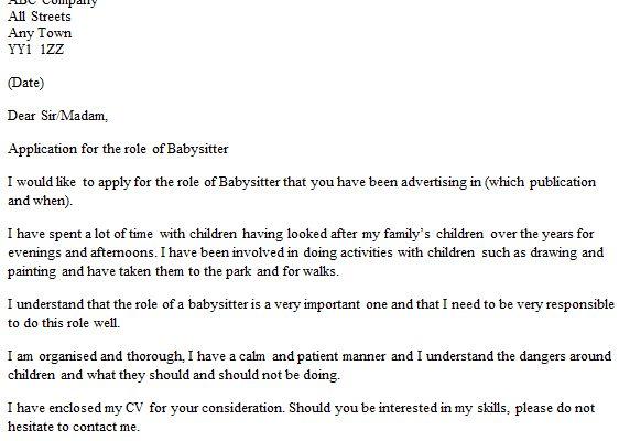 create my cover letter. babysitting reference letter. babysitter ...