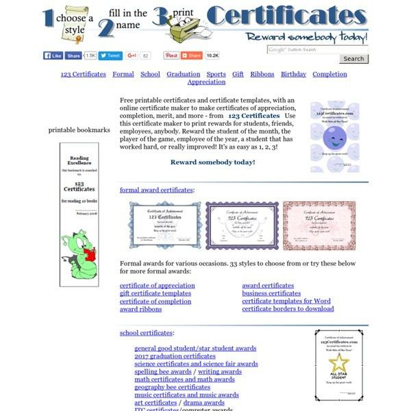 Certificate Templates - free printable certificates and award ...