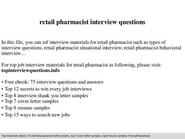 Retail pharmacist interview questions