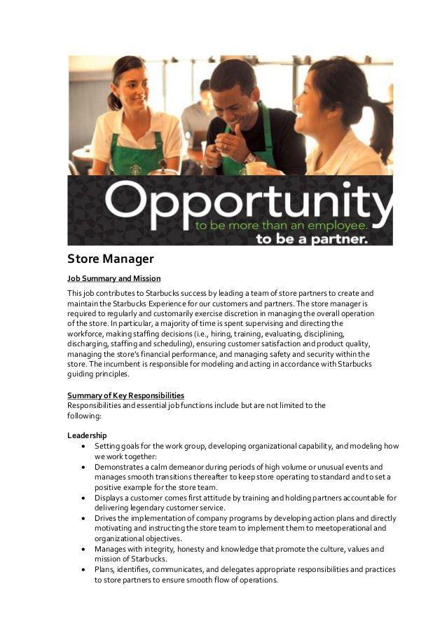 Starbucks Manager Job Description