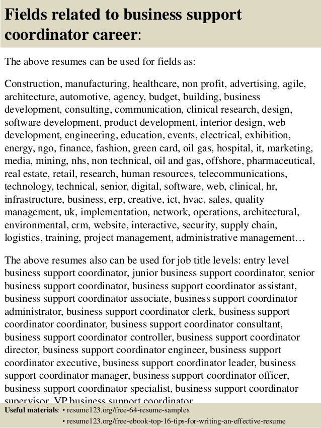 Top 8 business support coordinator resume samples