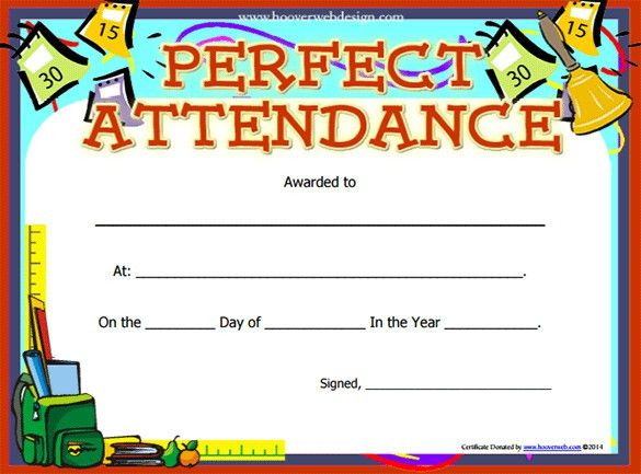 Perfect Attendance Certificate Template | Free Printable Word ...