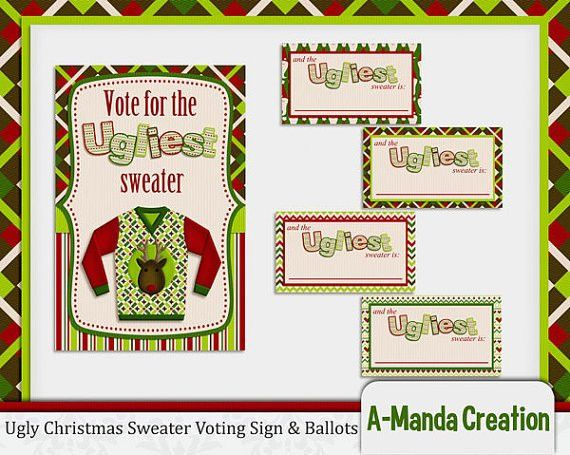 Ugly Christmas Sweater Party Printable Voting Ballots and Sign ...