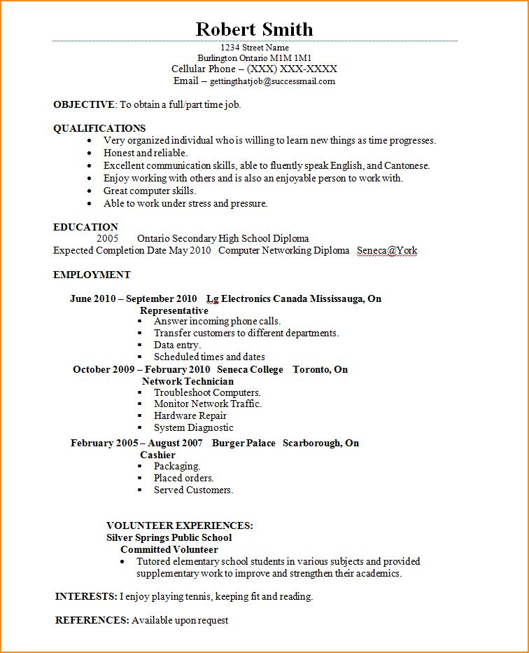 14+ how to write a resume for a job as a student - Basic Job ...