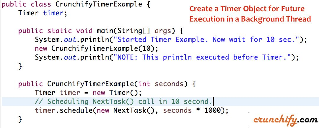 Java: Create a Timer Object for Future Execution in a Background ...
