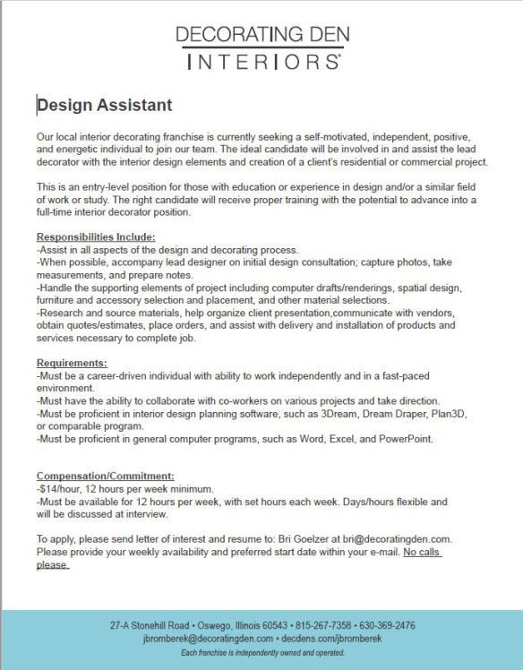 resume for interior design