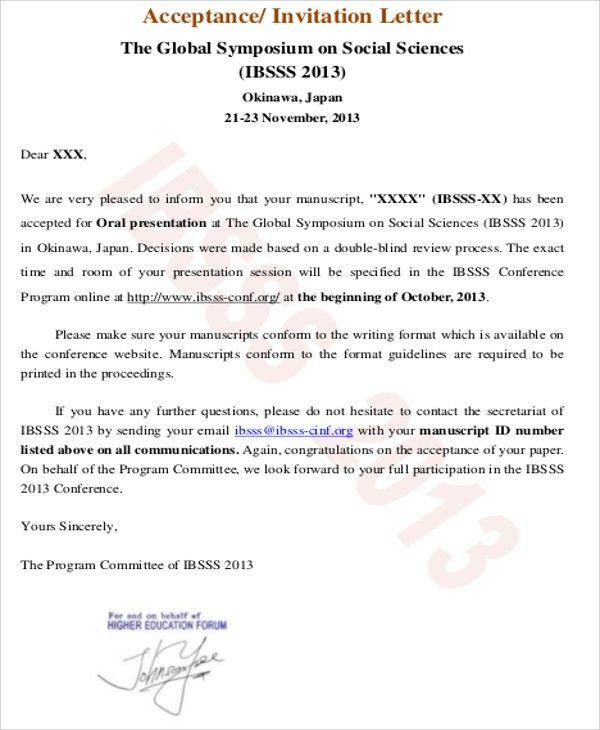 Formal Acceptance Letter. Formal Invitation Acceptance Letter ...