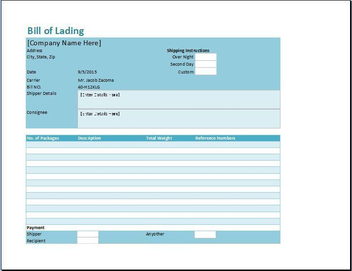 sample bill of lading template