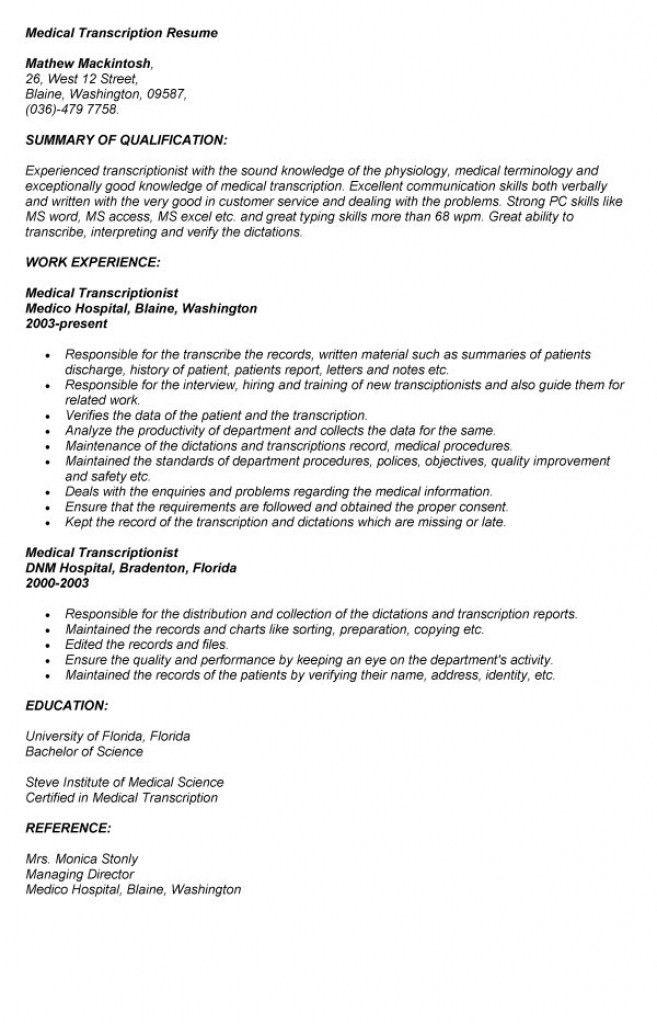 Transcriptionist Resume - Contegri.com