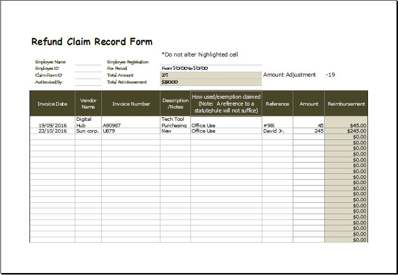 Refund Claim Record Form Excel Template | Excel Templates