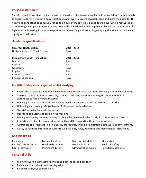 certified forklift operator resume forklift resume sample. resume ...
