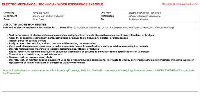 Electro Mechanical Technician CV Work Experience