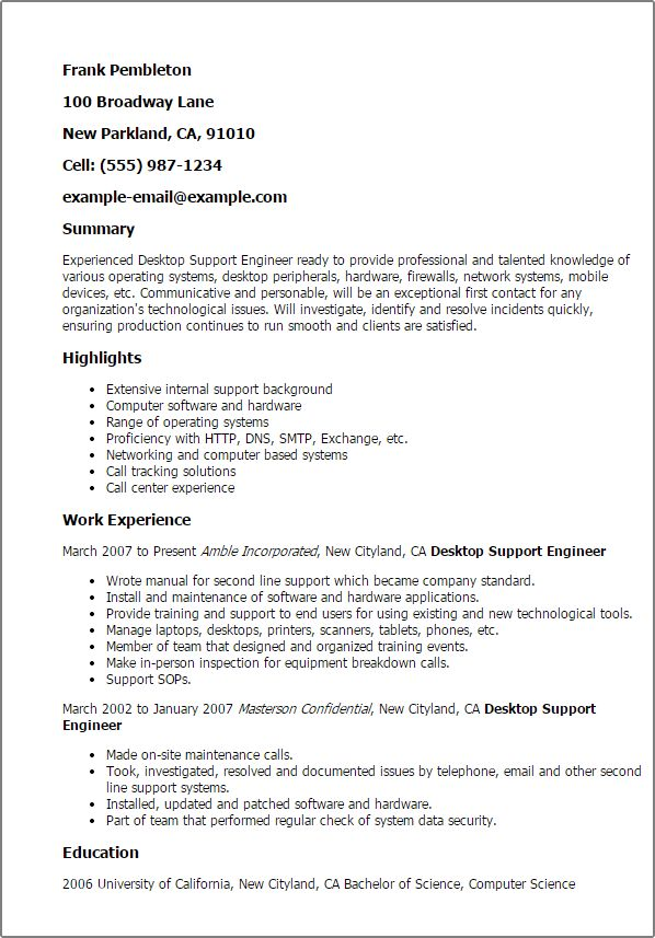 Download Field Support Engineer Sample Resume ...