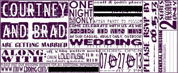 Our badass DIY concert ticket invites (: - Weddingbee