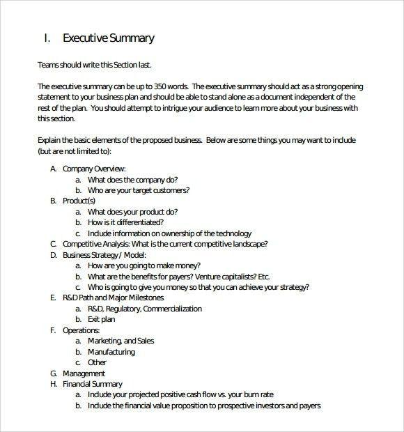 Executive Summary Template | ebook