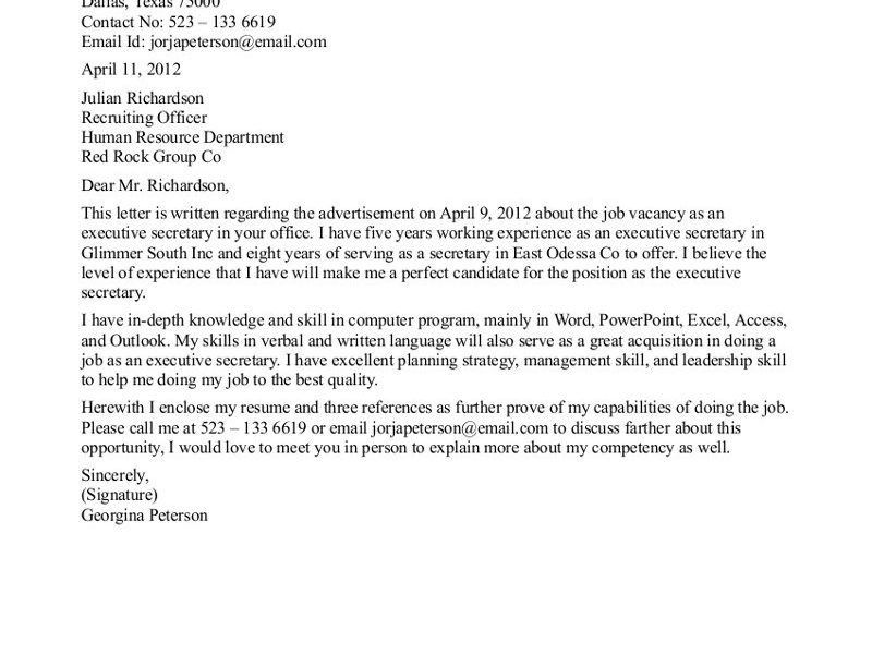 Bold Design Secretary Cover Letter 12 Sample Cover Letter For ...