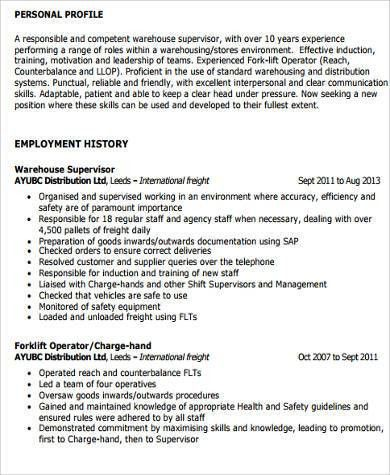 Supervisor Resume Sample - 9+ Examples in Word, PDF