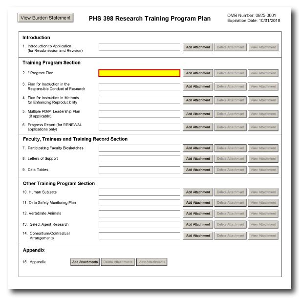 G.420 - PHS 398 Research Training Program Plan Form