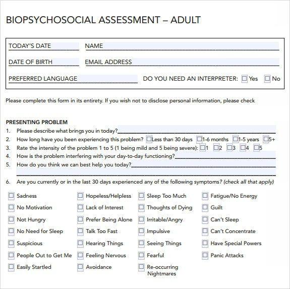 Delightful Biopsychosocial Assessment Social Work Template | Calendar Picture .