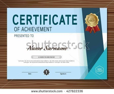 Blue Modern Certificate Template diploma Cover Vector Stock Vector ...