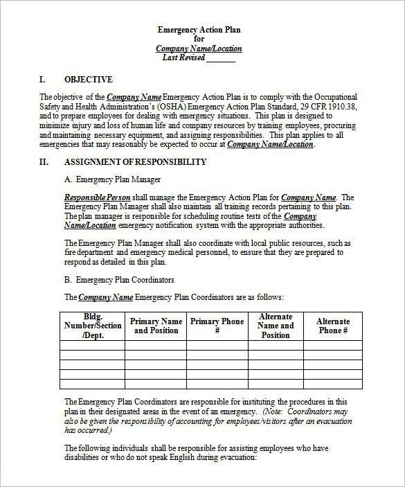 Emergency Action Plan Template – 13+ Free Word,Excel, PDF Format ...