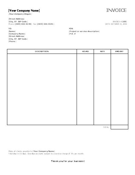 Service Invoice with Hours and Rates | Office Templates ...