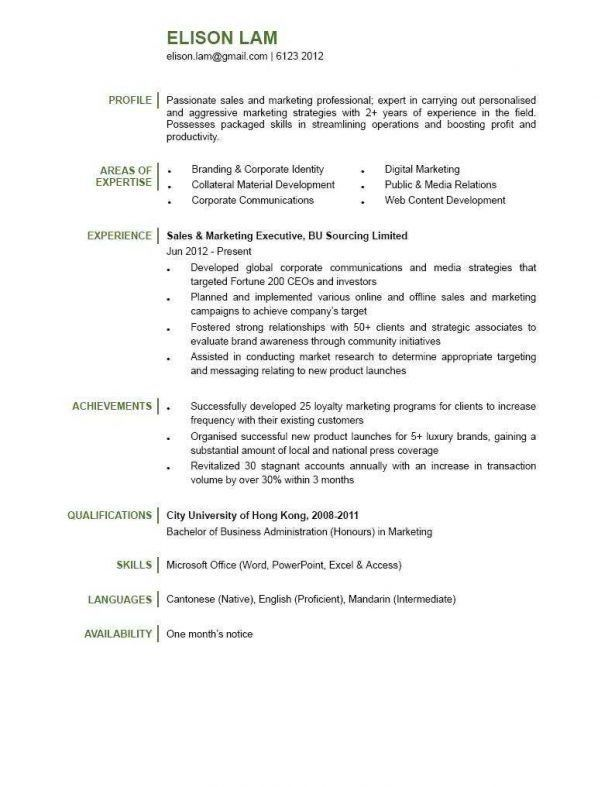 Resume : Fine Dining Server Resume Following Up On A Job ...