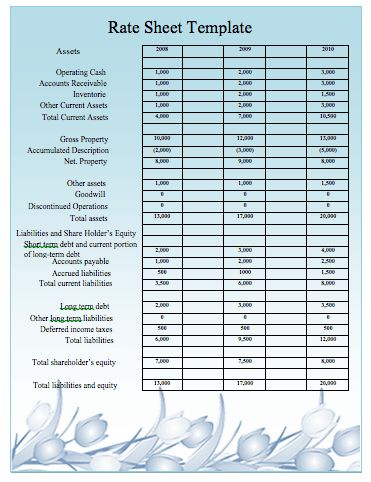 Rate Sheet Template Rate Sheet Template  Free Word Excel Pdf