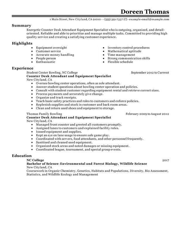 Unforgettable Counter Desk Attendant Equipment Specialist Resume ...