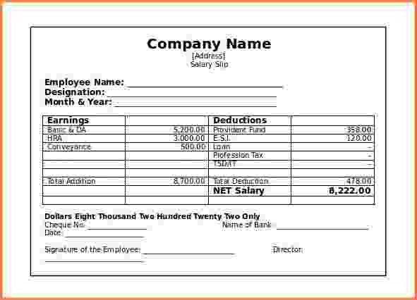 6+ salary slip format pdf free download | Simple salary slip