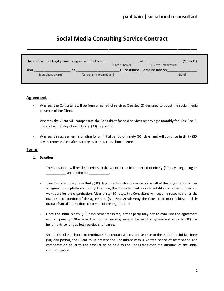 Sample Advertising Contract Template. Social Media Consulting ...