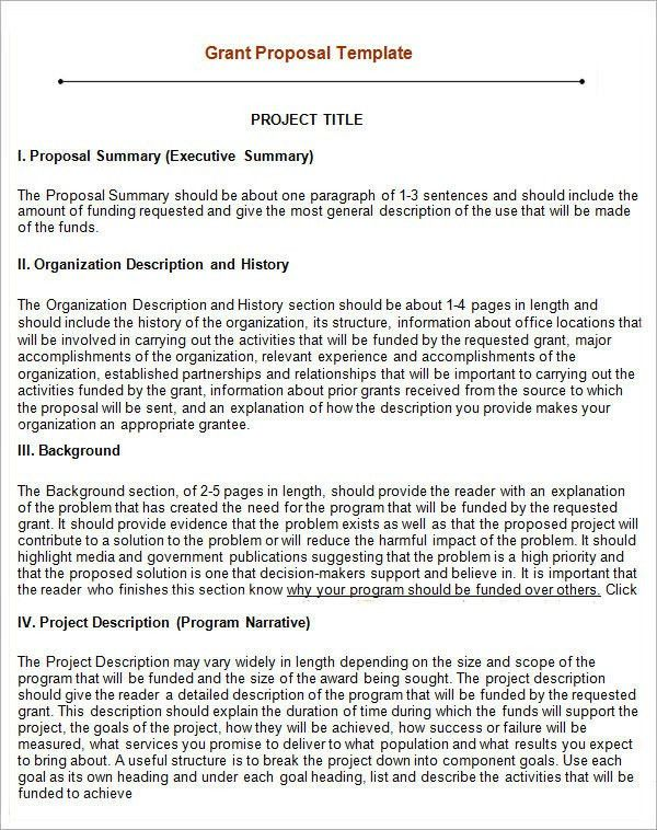 Grant Proposal Template. Sample Grant Proposal Printable Sample ...