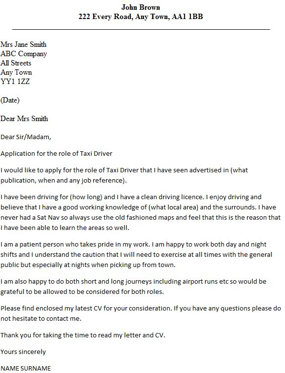 Taxi Driver Cover Letter Example - icover.org.uk