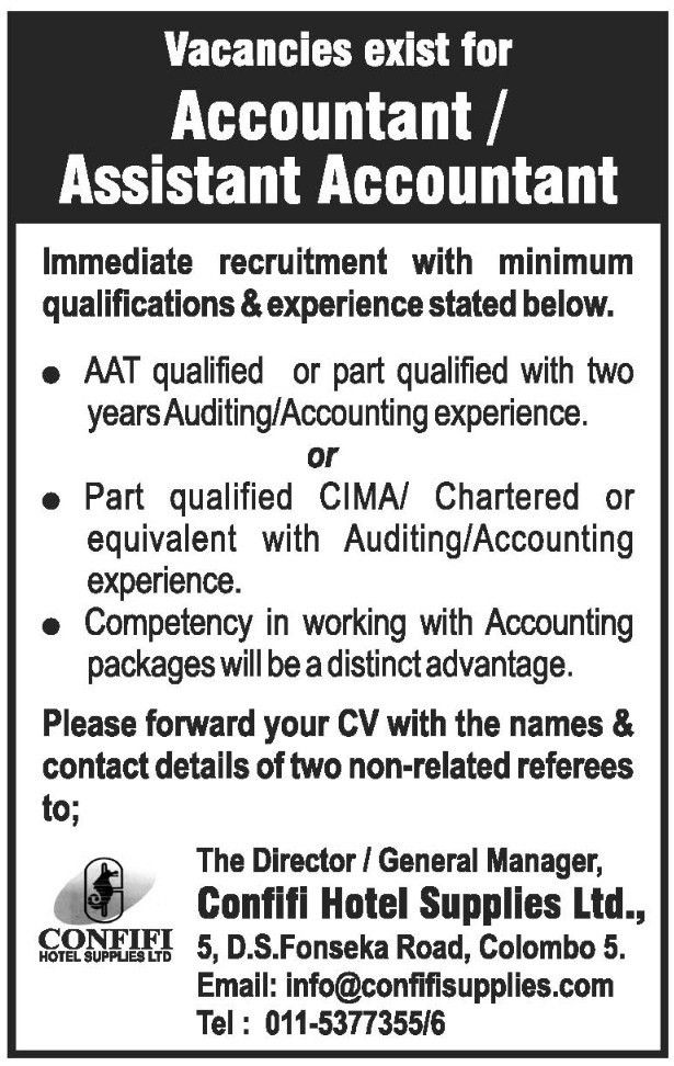 Accountant / Assistant Accountant,Confifi Hotel Supplies Ltd ...