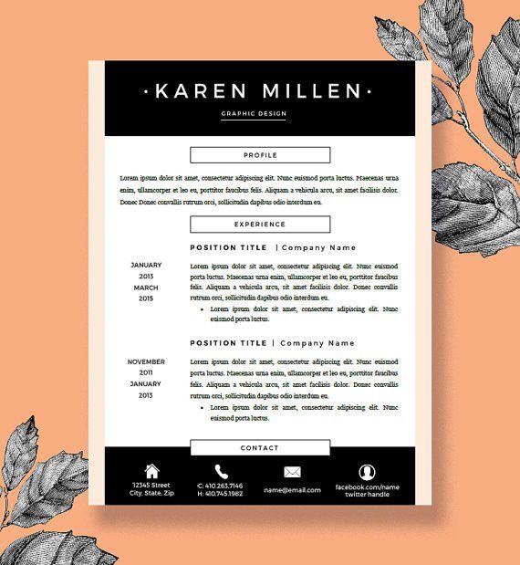 Resume Template and Cover Letter for Word and Pages | Two Pages ...