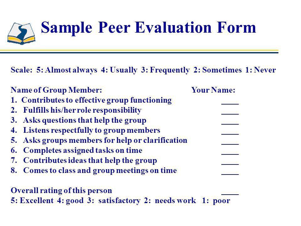 Sample Peer Evaluation Form. Sample Employee Performance ...
