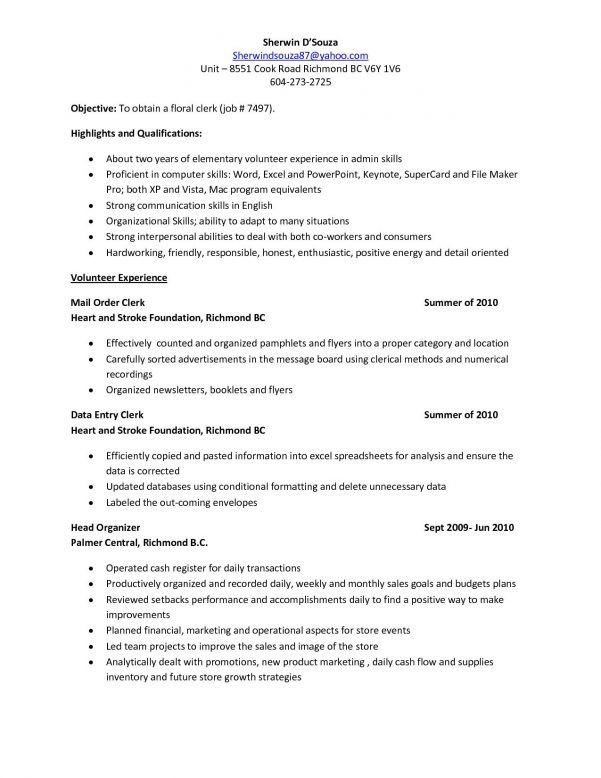 Sales clerk description resume