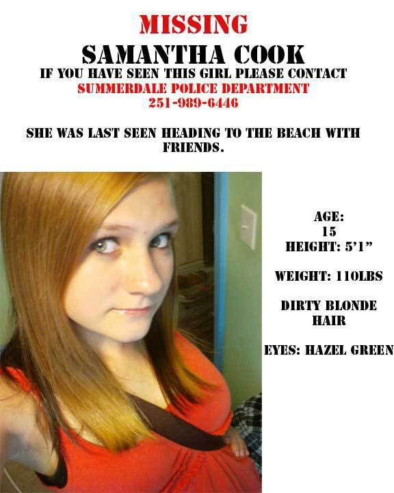 Samantha Cook Missing Person Message