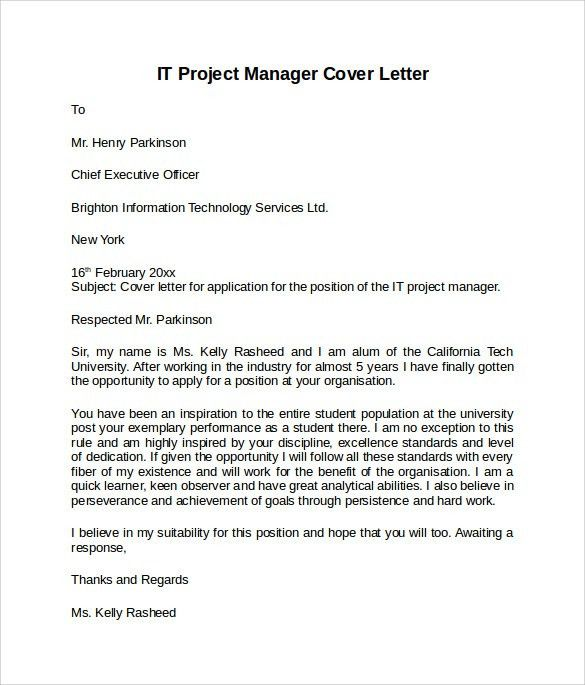 Project Management Cover Letter Sample
