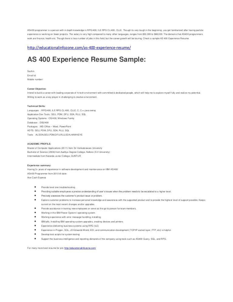 Download As400 Administration Sample Resume | haadyaooverbayresort.com