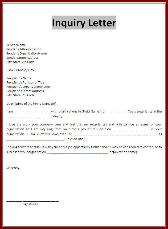 Sample Of Inquiry Letter Letters Of Inquiry Formal Letters How