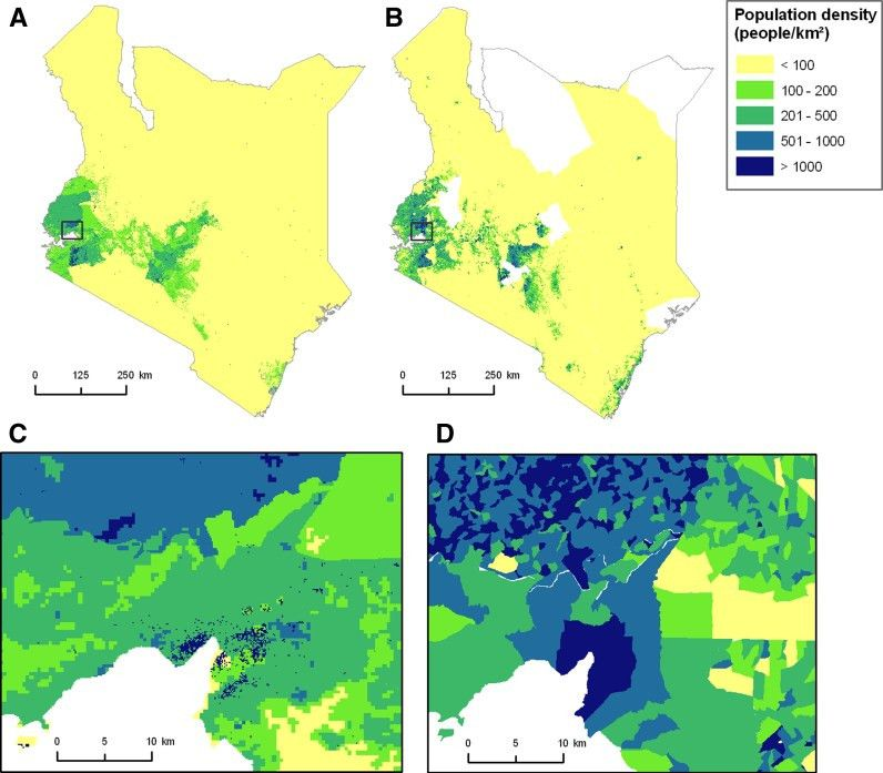 Population distribution maps for Kenya. a example of population...