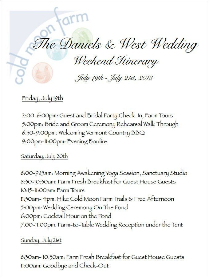 Wedding Itinerary Template. Http://Weddingtips101 Wordpress Com ...