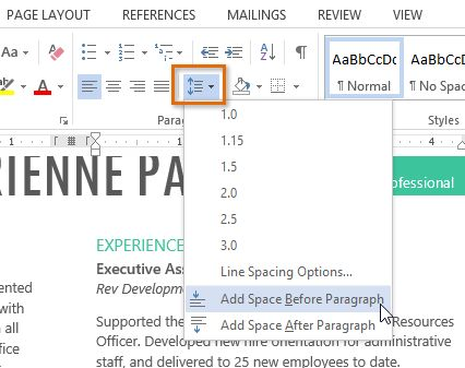 Word 2013: Line and Paragraph Spacing - Full Page